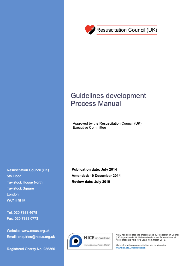 Guidelines development process manual cover