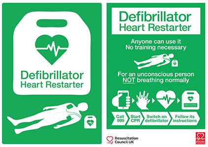 AED sign and poster